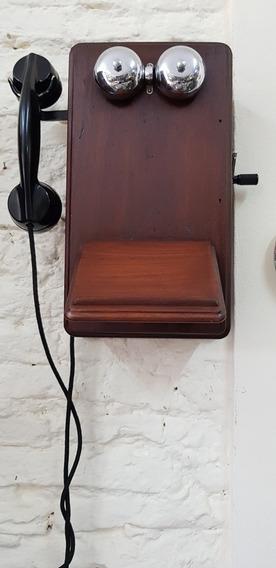 Telefono Antiguo Ericson Caja De Cedro Completo Y Sano