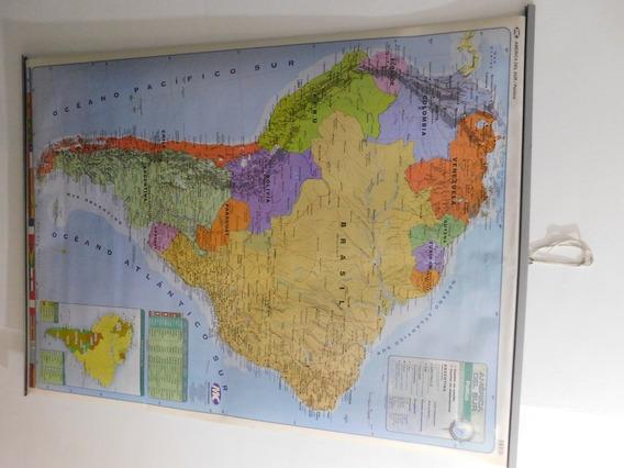 Mapa Doble Faz De America Del Sur. Físico/político 130x95cm