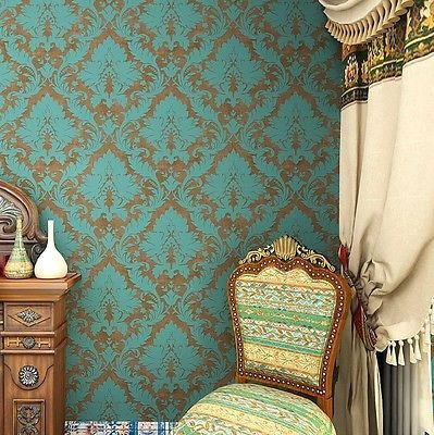 Vintage Bronce/verde Damasco Reuniéndose Fondos Home Roll Pa