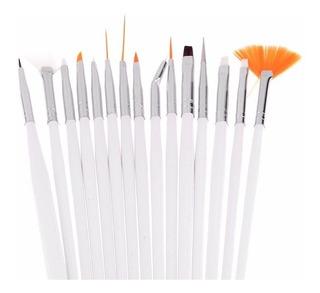 Set X15 Pinceles Arte Uñas Decoración Profesional