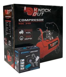 Compresor De Aire 2hp 40lts + Kit 5 Piezas. Envio Gratis!