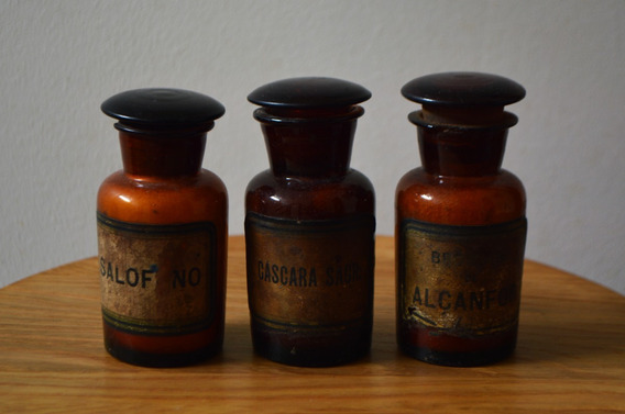 Frascos De Farmacia Antiguos - Medianos - Decoración