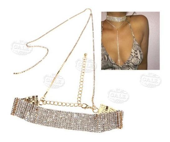 Mujer Diamante Collar Bling Cristal Gargantilla De Diamantes