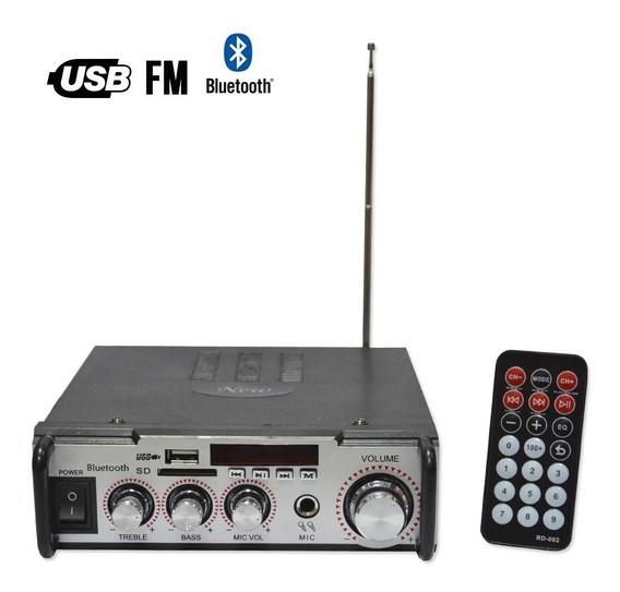 Amplificador De Audio C/lector Usb Y Sd + Fm Bluetooth