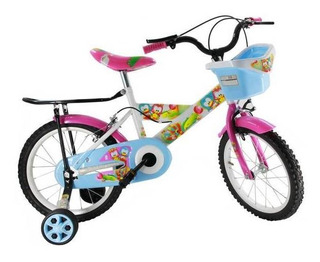 Bici R16 Con Canasto Blanca Con Rosada Flaber