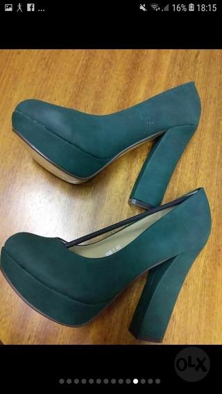 Zapatos Con Plataforma, Altura Aprox. Cm 17. Verde Y Coral.