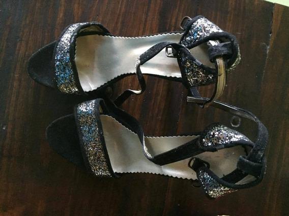 Zapatos Taco Alto De Fiesta Negro Y Plateado Rebajados