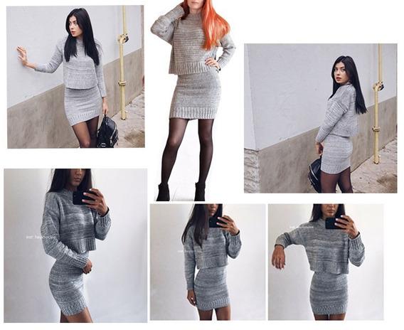 Conjunto Dama Falda + Suéter De Lana,por Encargue