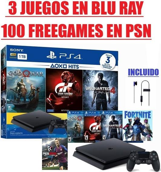 Ps4 Slim 1 Tb + Muchísimos Juegos + Fortnite + 1 Año Garanti