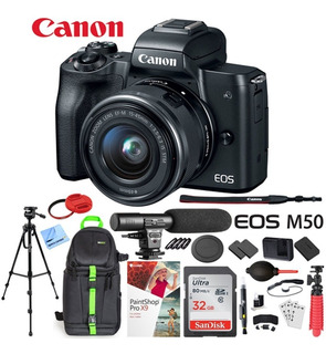 Canon Eos M50 Mirrorless Digital Camera Black With Ef-m 15-4