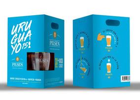 Cerveza Pilsen Copa América X3 Litro + Vaso + Posavasos