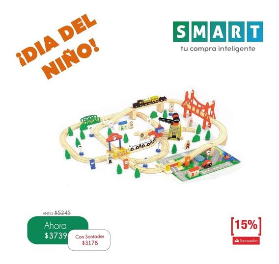 ¡promo! Tren De Madera (juego Infantil 100 Pcs)
