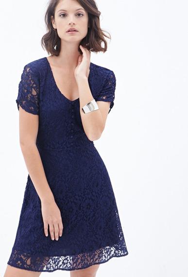 Vestido Forever 21 Azul Talle M