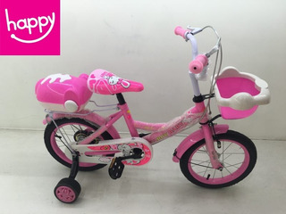 Bicicleta Rodado 16 Rosada Con Canasto Y Valija Trasera