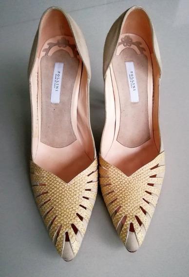 Zapatos De Vestir Marca Pollini Italianos De Cuero