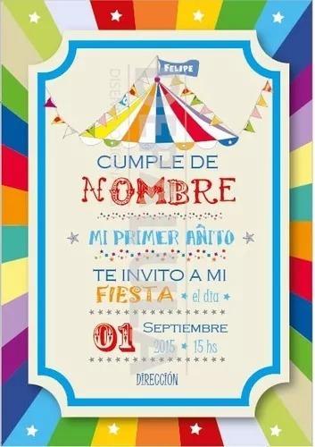 Tarjeta Invitación Cumpleaños Infantil Circo Original