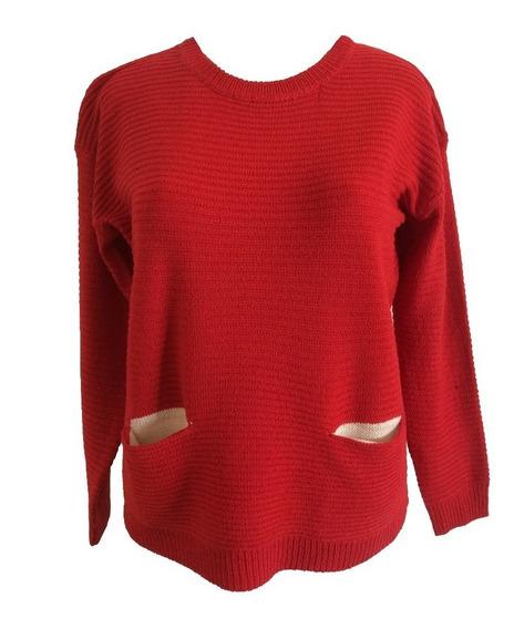 Sweater Slowly Dama Con Bolsillos Frontales #1475078