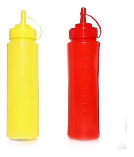 Pomo Para Aderezos 650 Ml Plástico Rojo Amarillo Gold