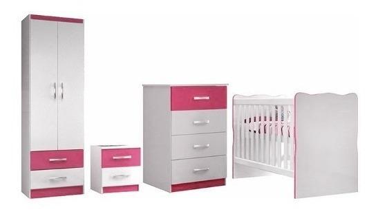 Juego Dormitorio Infantil Rosa Ropero + Cuna + Cómoda Bebés