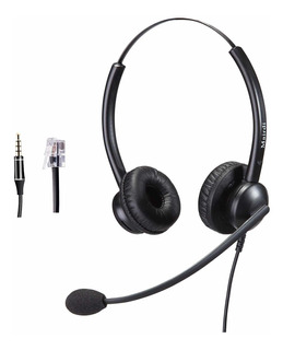 Telephone Headset With Rj9 Jack For Phone With Noise Canc