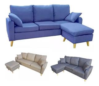 Sillon 3 Cuerpos Tela Chaise Sofa + Puff Movible Regalo Lg