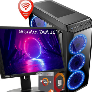 Pc Gamer Amd Ryzen 3 2200g 8g Ssd Wifi Monitor Dell 22 1080p