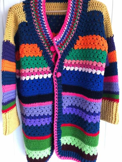 Saco Dama Crochet Talle L Tejido A Mano Oportunidad