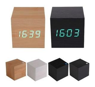 Reloj Despertador Display Led Madera Varios Colores Cubo