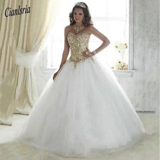 Vestido De 15 Blanco Con Dorado En Mercado Libre Uruguay