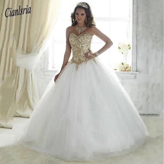20c114971c6b Vestido 15 Blanco Dorado - Vestidos Largos para Mujer en Mercado ...