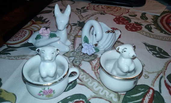Lote (4) Adorno Vitrina Miniatura Porcelana Muy Original