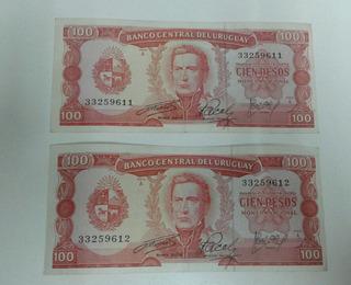 Billete Antiguo De Cien Pesos Uruguay