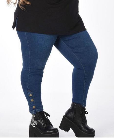 Jeans Talles Grandes Reales Con Botocitos En El Ruedo