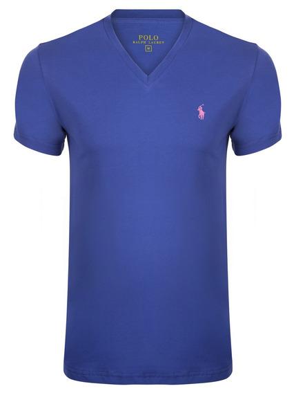 Camiseta Polo Escote V Lila Algodón , Remeras Importadas