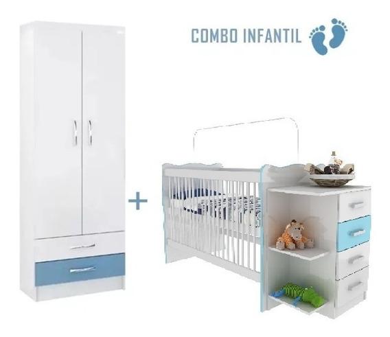 Cuna Infantil C/cambiador + Ropero 2p C/ 2c Sensacion