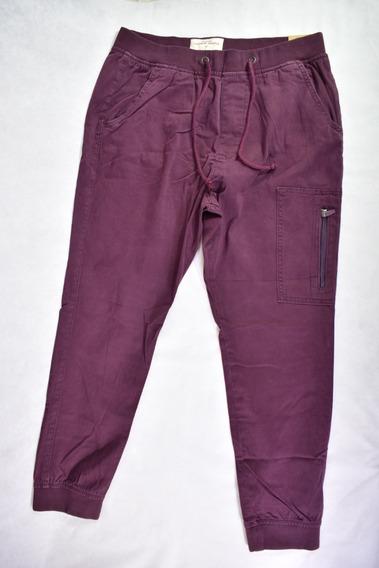 Pantalones Babucha Con Puño Pantalón Hollister Bordó