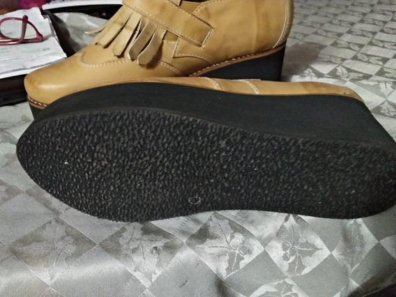Zapato De Cuero Plataforna Dama