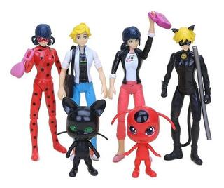 Ladybug Set 6 Personajes Juguetes Anime C/luz 15cm Alto