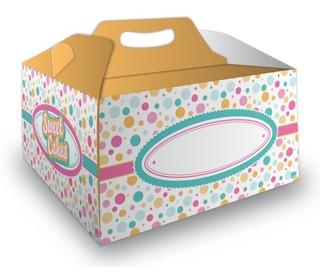Caja Cajas Ideal Torta Amarilla Y Lunares En Cartulina