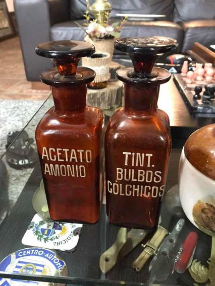 Antiguos Frascos De Farmacias Con Nombres En Relieve