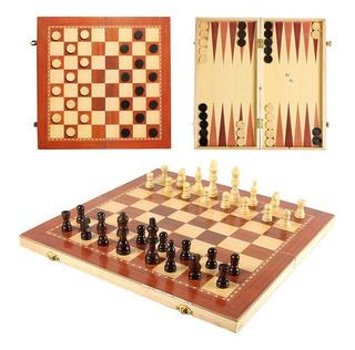 Juegos De Mesa 3 En 1 - Ajedrez, Damas Y Backgammon