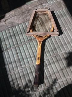 Raqueta De Tenis Antigua Vintage Madera Spalding Barbacoa