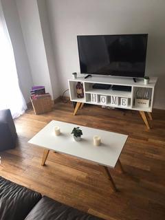 Combo Mesa Ratona + Mesa Tv Nórdica Escandinava Oferta