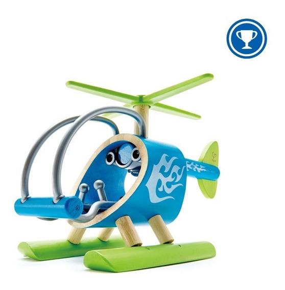Helicoptero - Celeste Juguete Hape 3+