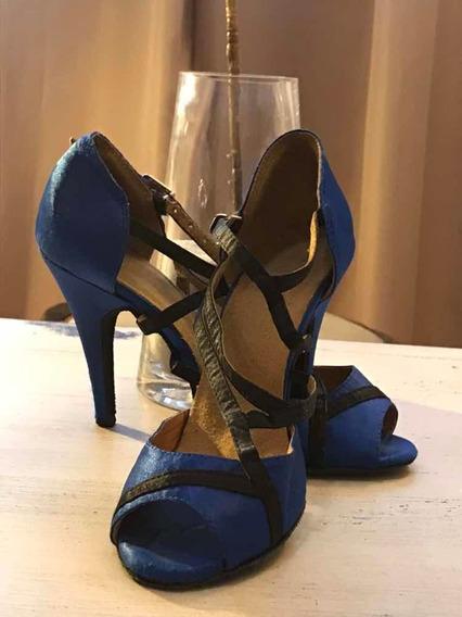 Sandalias Azules. Stilettos. Taco Aguja. Fiesta O Danza. T36