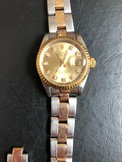 Rolex Oyster Perpetual Esfera De Diamantes Oro Y Acero