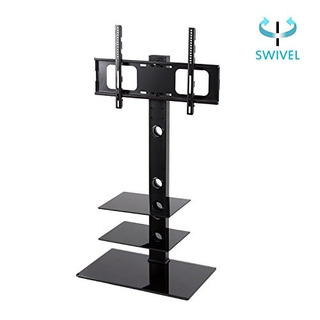 Rfiver 3 Tier Black Swivel Glass Tv Stand With Mount