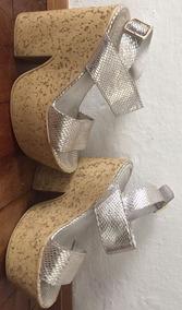 Sandalia Plataforma Cuero Plateado Talle 37