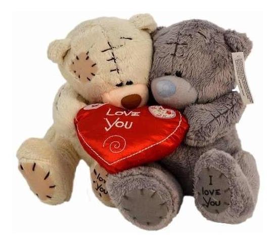 Peluche Doble De 20cm Con Corazón Love Hj221-1 En Oferta Loi