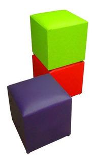 Puff - Oferta!!! Colores A Elección - 30x30x37 Cm